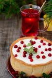 White chocolate cheesecake tart with cranberries Royalty Free Stock Photo