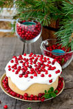 White chocolate cheesecake tart with cranberries Royalty Free Stock Photography