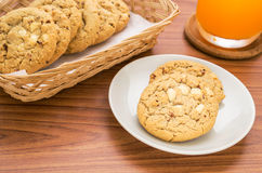 White chocolate chip with raspberry cookie and juice Stock Photo