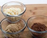 White Chocolate Chips, Brown Sugar and Cocoa Powdered Stock Photography