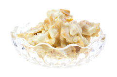 White chocolate clusters in bowl Stock Image