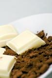 White chocolate with cocoa powder. Segments of white chocolate with cocoa powder Stock Photos