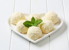 White Chocolate and Coconut Truffles Royalty Free Stock Photography