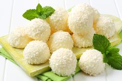 White Chocolate and Coconut Truffles. White chocolate snowball truffles rolled in coconut stock photos