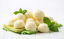 White Chocolate and Coconut Truffles Stock Images