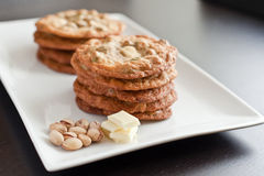 White chocolate cookies. Homemade white chocolate and pistachio cookies Stock Image