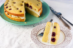 White chocolate, cottage cheese and cherry cake Stock Photo