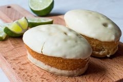 White Chocolate Covered Mini Key Lime Cake stock images
