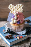 White chocolate cup cake Royalty Free Stock Photo