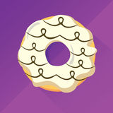 White chocolate donut. Flat design vector image whit long shadow. Violet background and white frosting, covered by a chocolate design Royalty Free Stock Photography