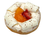 White chocolate donut with fruit Stock Photography