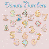 White Chocolate Donuts Numbers. stock image