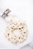 White chocolate festive christmas wreath Stock Photos