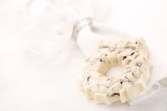 White chocolate festive christmas wreath Royalty Free Stock Images