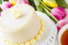 White chocolate honey lavender cake Stock Image
