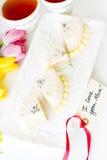 White chocolate honey lavender cake Stock Images