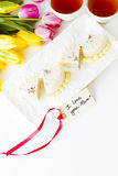 White chocolate honey lavender cake Royalty Free Stock Photography