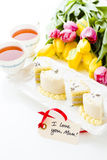 White chocolate honey lavender cake Stock Photos