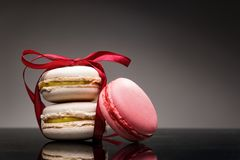 White chocolate macaroons and rose-lychee macaroons Stock Image