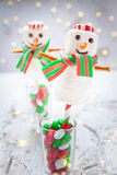 White chocolate marshmallow snowman for Christmas Royalty Free Stock Images