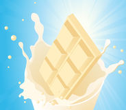 White chocolate in milk splash Royalty Free Stock Image