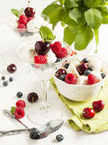 White chocolate mousse with berries and meringue. White chocolate mousse with fresh berries and meringue Stock Photography