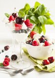 White chocolate mousse with berries and meringue Stock Photo