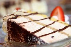 White chocolate mousse cake. Chocolate mousse cake with strawberry Stock Image