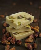White chocolate and pistachios Stock Photo