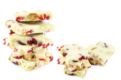 White chocolate with pistachios and cranberry Stock Photos