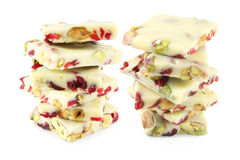 White chocolate with pistachios and cranberry Royalty Free Stock Photo