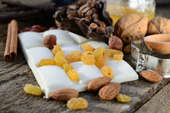 White chocolate with raisins Royalty Free Stock Images