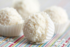 White chocolate truffles royalty free stock images
