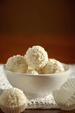 White chocolate truffles stock photos