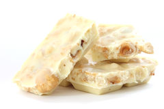 White chocolate with whole hazelnuts Royalty Free Stock Images