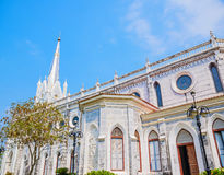 White christian church, Samut Songkhram Province, Thailand. Royalty Free Stock Images