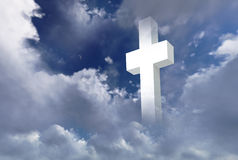 White christian cross. On cloudy sky made in 2d software Stock Images
