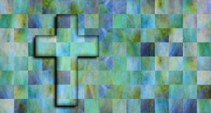 White christian cross on a vibrant background. White christian cross on a vibrant checkerboard background with green, blue, violet and yellow color Royalty Free Stock Photography