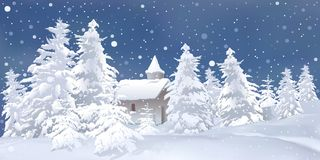 White Christmas. Snowy background illustration and Royalty Free Stock Photo