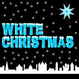 White christmas. The words White Christmas in blue and white, a blue and white big star and a white city silhouette on black background, together with white Stock Photo
