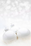White Christmas Babules with bokeh background Royalty Free Stock Photo