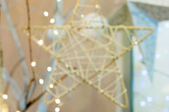 White Christmas background bokeh. Christmas star Royalty Free Stock Photos