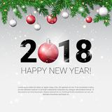 New Year 2018 Background With Frame From Fir Branches Decorated With Colofrul Balls. White Christmas Background With Frame From Fir Branches Decorated With Royalty Free Stock Photos