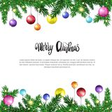 White Christmas Background With Frame From Fir Branches Decorated With Colofrul Balls. Vector Illustration Stock Photo
