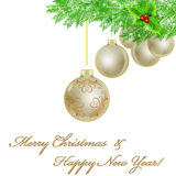 White Christmas background with golden bauble Royalty Free Stock Images