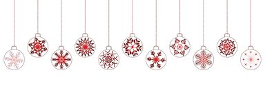 White christmas background with red balls stock images