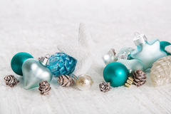 White christmas background with snow and balls in turquoise, blu Royalty Free Stock Images