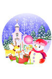 White christmas background of a snow-covered village. - Creative illustration eps10 Stock Image