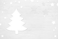 White christmas background with tree and stars in shabby chic st stock photography