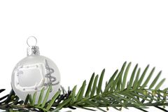 White christmas ball. Christmas decoration on white background Stock Photos